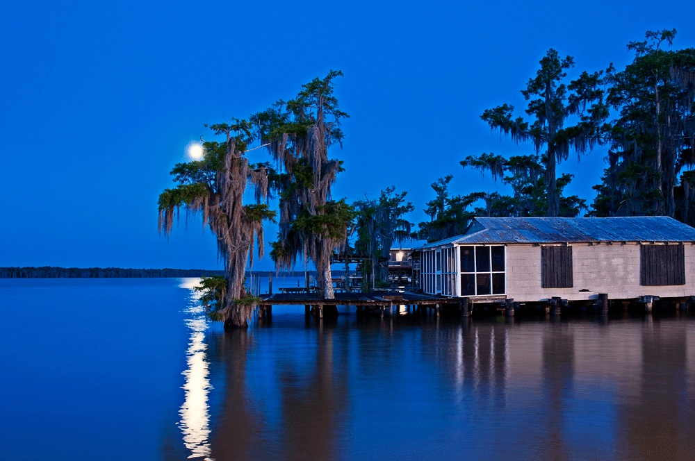Moon over lake verret photograph special sale andy for Fishing camps for sale in louisiana